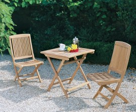 Rimini Teak Folding Dining Set with Square 0.7m Table & 2 Side Chairs
