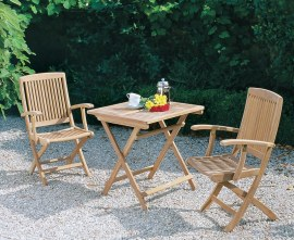 Rimini Teak Folding Dining Set with Square 0.7m Table & 2 Armchairs