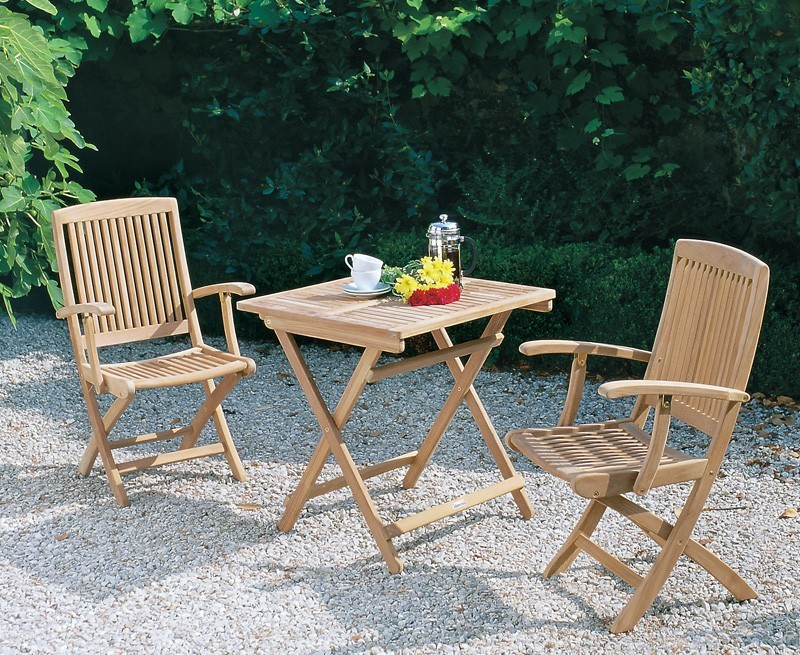 Palma 70cm Square Table with Armchairs, 2 Seater Folding Set