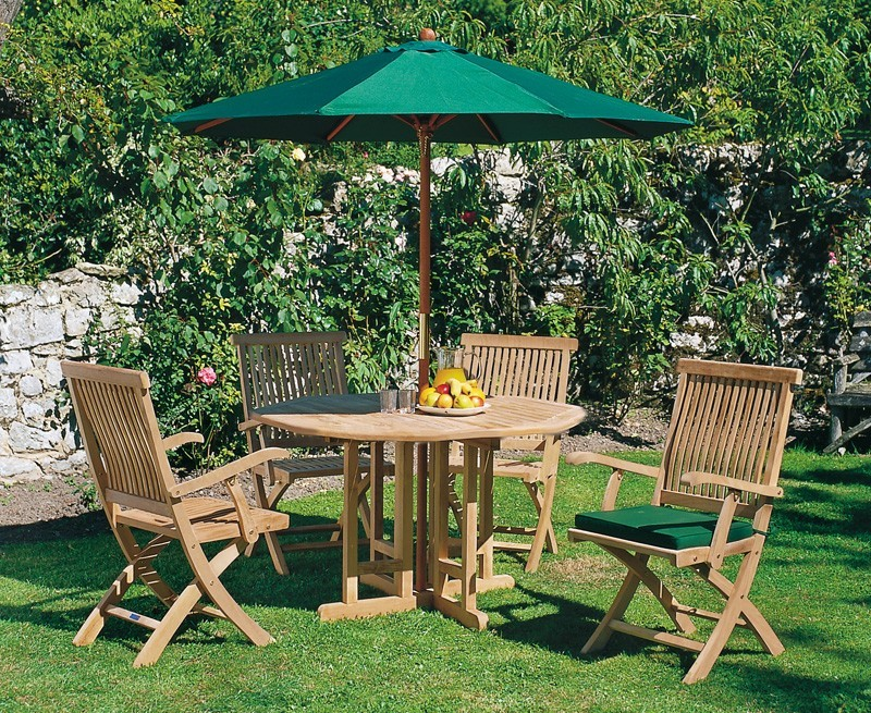 Berwick 1.2m Round Gateleg Table and 4 Oxburgh Armchairs Set