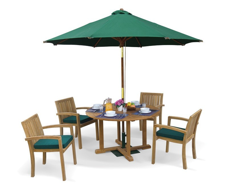 Sissinghurst 4 Seater Round 1.2m Dining Set with Antibes Chairs