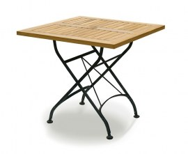 Café Square Folding Bistro Table Black – 80cm