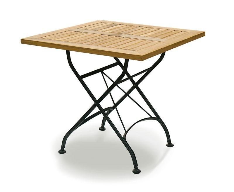 Café Square Folding Bistro Table Black – 80cm