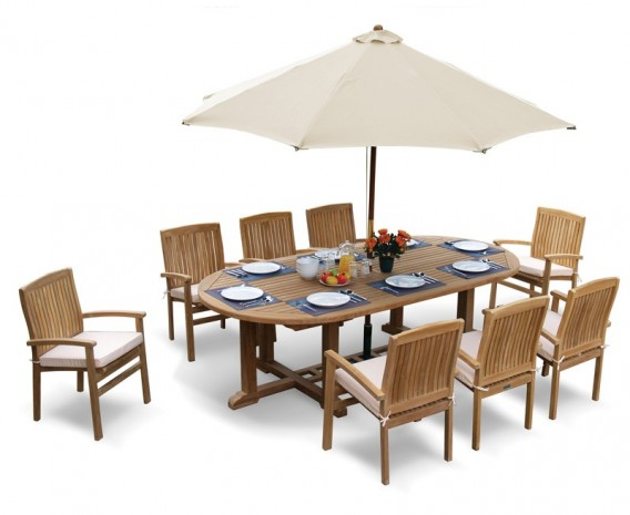 Winchester 8 Seater Teak 2.6m Oval Table with Cannes Stacking Armchairs