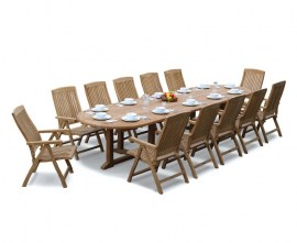 12 Seat Teak Outdoor Dining Set | Winchester 4m Oval Table with Cannes Reclining Chairs