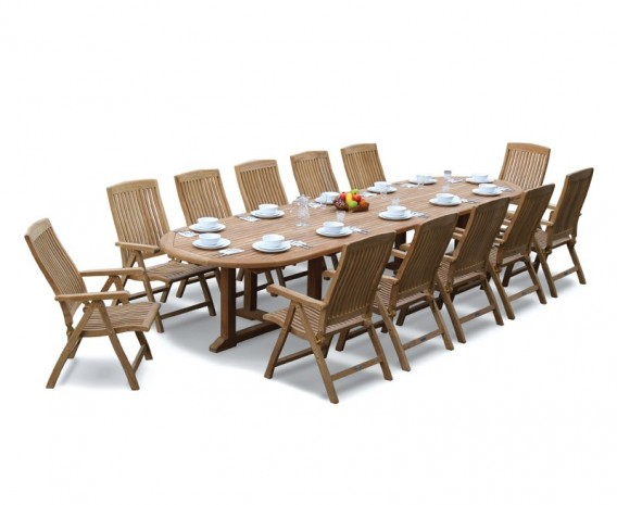 Winchester 12 Seater Teak 4m Oval Table with Bali Recliner Chairs