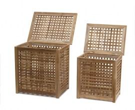 Set of 2 Garden Storage Boxes, Outdoor Storage Chest – M & L