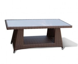 Verona Rattan Glass-Top Coffee Table