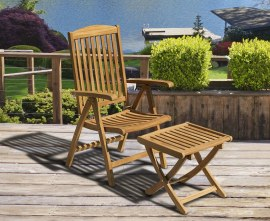 Tewkesbury Teak Outdoor Recliner Chair with Footstool