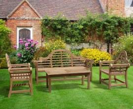 Lutyens 1.95m Bench & Armchairs with Hilgrove Coffee Table Teak Set