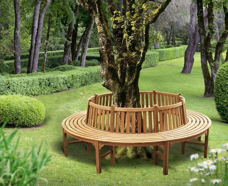 Teak Circular Tree Bench - 2.96m