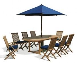 Brompton 1.1 x 1.8 - 2.4m Table & 8 Ashdown Folding Chairs