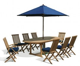 Oxburgh 8 Seater Teak Extendable Dining Table with Folding Chairs Set