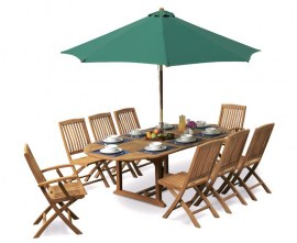 Oxburgh 8 Seater Teak 1.8-2.4m Extending Table with Cannes Folding Chairs and Armchairs