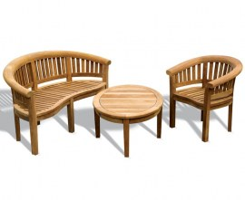 Cotswold Teak Garden Banana Bench, Chair and Oval Coffee Table Set