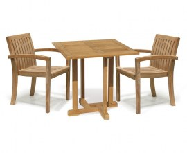 Sissinghurst 2 Seat Small Teak Garden Table and Stacking Chairs Set