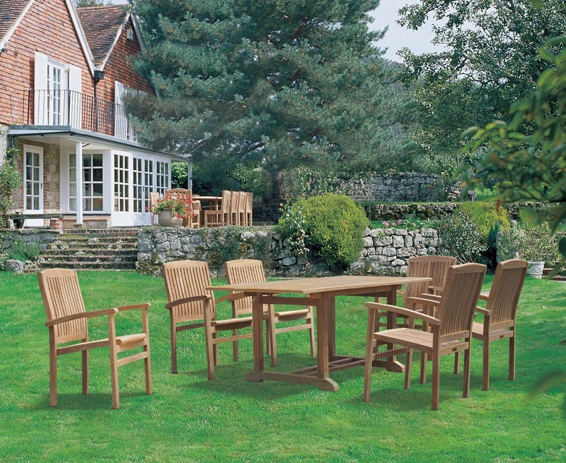 Winchester 6 Seater Teak 1.8m Rectangular Table with Cannes Armchairs
