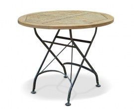 Café Round Folding Bistro Table Black - 90cm