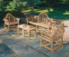 Lutyens 1.95m Bench & Armchairs with Side Tables, Conversation Set
