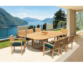 Oxburgh 8 Seater Teak Extending 1.8-2.4m Table with Antibes Armchairs