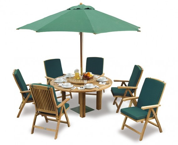 Orion 6 Seater Round 1.5m Garden Table with Cannes Reclining Chairs