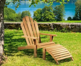 Teak Wood Adirondack Chair and Footrest