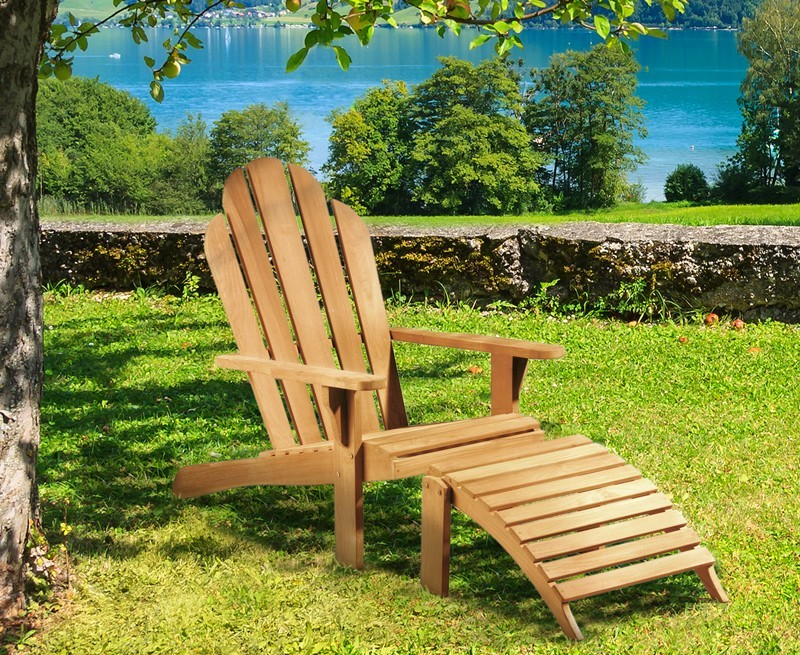 Teak Wood Adirondack Chair and Footrest