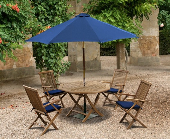 Lymington Octagonal 1.2m Folding Dining Set with 4 Newhaven Armchairs