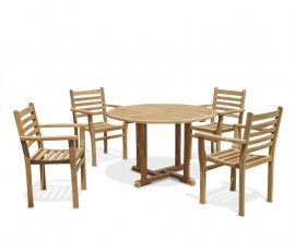 Sissinghurst 4 Seater Round 1.2m Dining Set with Sussex Chairs