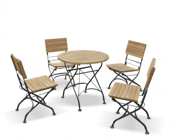 Café 4 Seater Round 80cm Table and Side Chairs Set - Raven Black