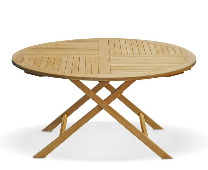 Lymington 5ft Round Folding Garden Table - 1.5m