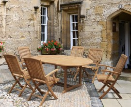 Oxburgh 6 Seater Double Leaf Extending Table with Cannes Armchairs