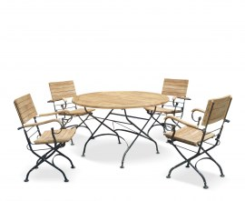 Café Round 1.2m Table and 4 Armchairs, Folding Garden Set - Black