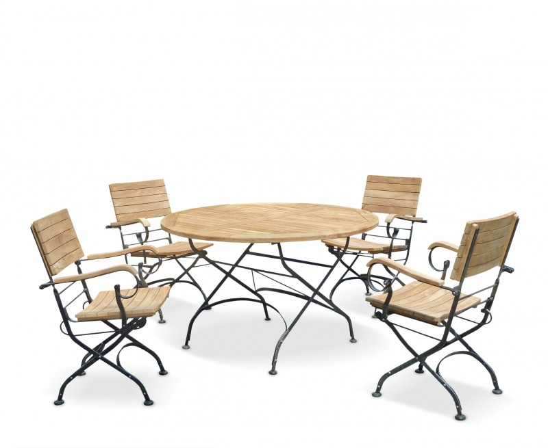 Café 4 Seater Round 1.3m Table and Armchairs Set - Black