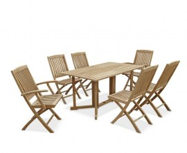 Byron 6 Seater Teak 1.5m Gateleg Dining Set with Cannes Chairs