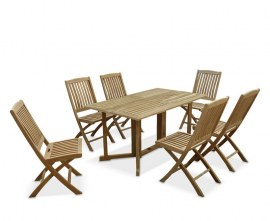 Byron 6 Seater Teak 1.5m Gateleg Dining Set with Cannes Dining Chairs