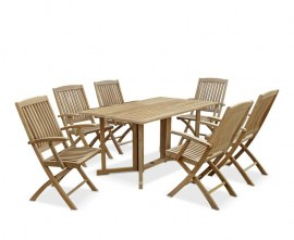 Byron 6 Seater Teak 1.5m Gateleg Dining Set with Cannes Armchairs