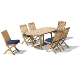 Oxburgh Bijou 6 Seater Single Leaf Extending Table 1.2-1.8m with Cannes Folding Chairs