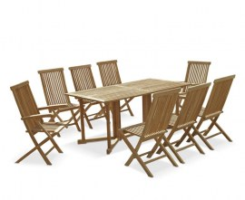 Byron 8 Seater Teak 1.8m Gateleg Dining Set with Newhaven Chairs