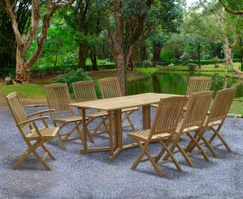 Byron 8 Seater Teak 1.8m Gateleg Dining Set with Cannes Chairs