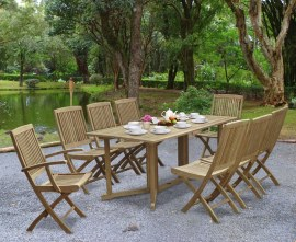 Byron 8 Seater Teak 1.8m Gateleg Dining Set with Palma Chairs