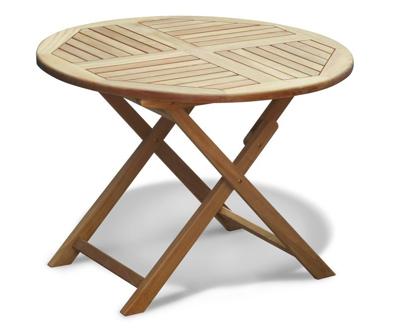 Lymington Teak Round Folding Garden Table - 1m