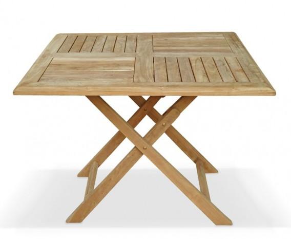 Lymington Teak Square Folding Garden Table - 1m
