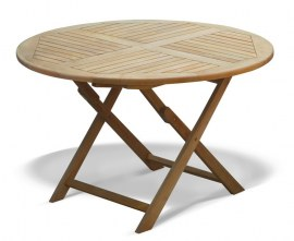 Lymington 4ft Round Folding Garden Table - 1.2m