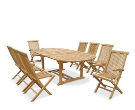 Oxburgh 8 Seater Teak 1.8-2.4m Extending Table with Newhaven Chairs