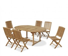 Oxburgh Teak Extendable Dining Table with 6 Folding Chairs Set