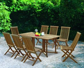 Byron 8 Seater Teak 1.8m Gateleg Dining Set and Newhaven Dining Chairs