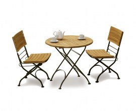 2 Seater Outdoor Wooden Foldable Cafe Set | Garden Folding Cafe Table & 2 Patio Folding Cafe Chairs