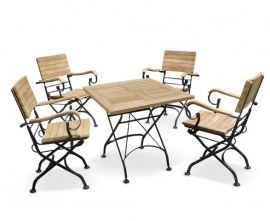 Café 4 Seater Square 80cm Table and Armchairs Set - Black