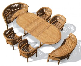 Oxburgh Teak Extendable Table 1.8-2.4m with Banana Benches and Chairs